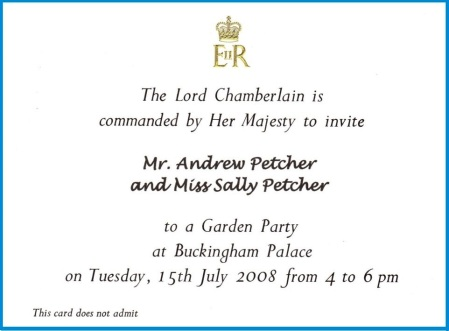 Buckingham Palace Garden Party Invitation