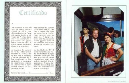 Mount Teide Certificate