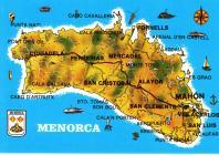 Minorca Island Map Postcard