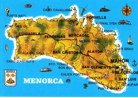 Minorca Island Map Postcard