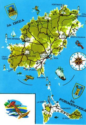 Ibiza Island Mapp Postcard
