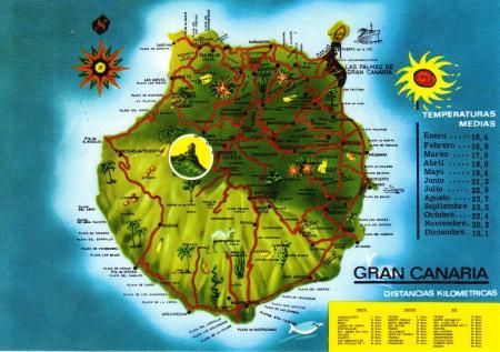 Gran Canaria Island Map postcard