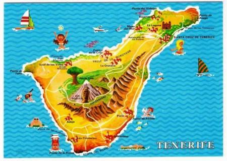 Tenerife Island Map Postcard