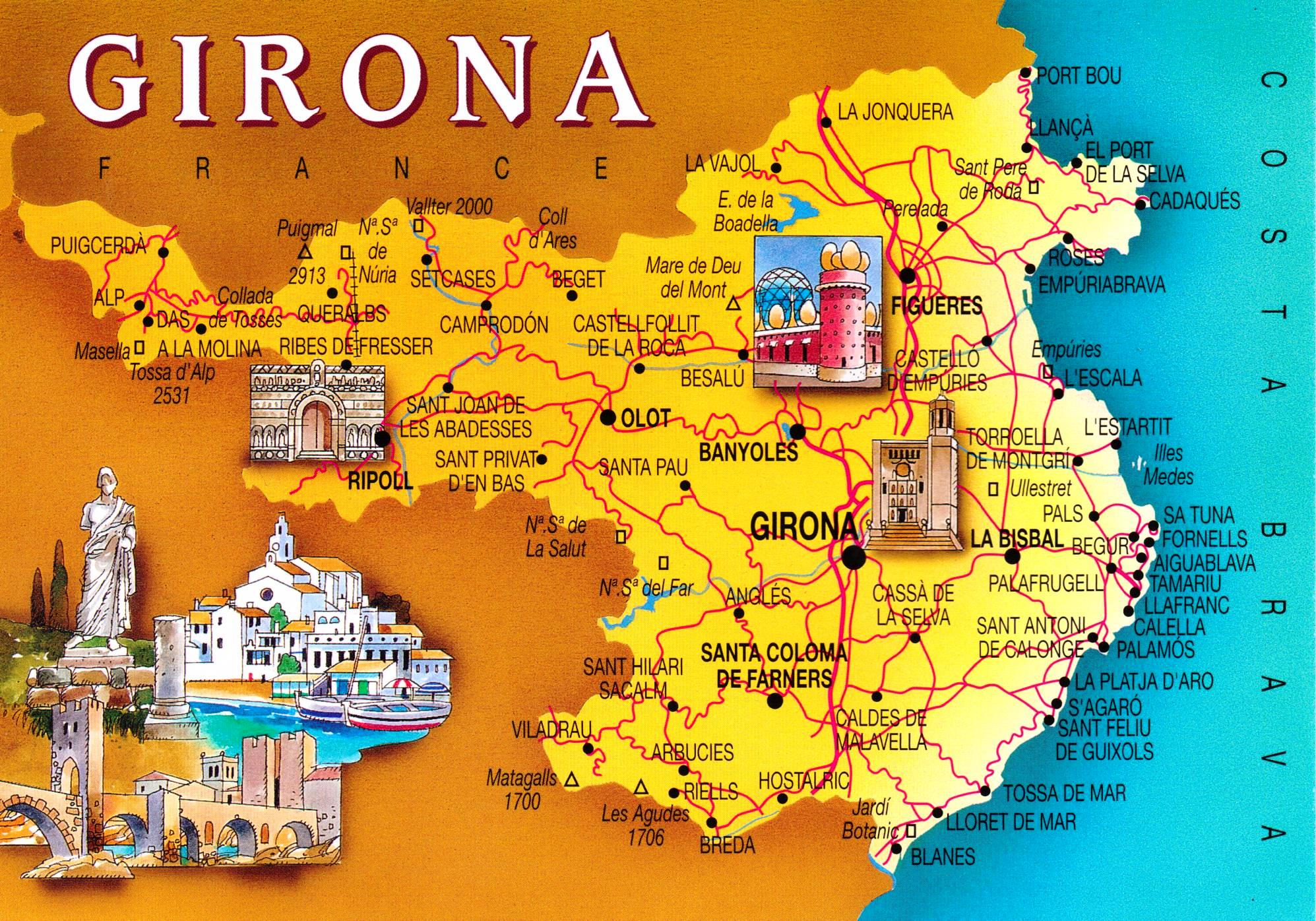 benidorm  have bag will travel - girona catalonia post card