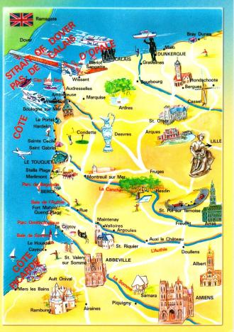 Pays de Calais Postcard Map