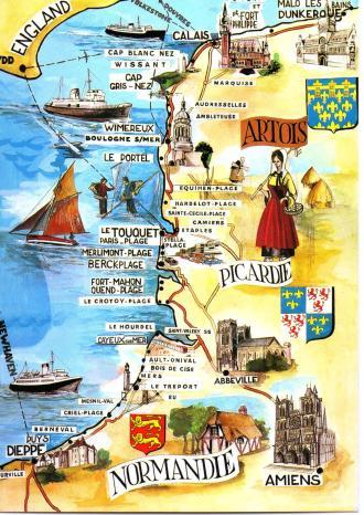 Picardy Artois Postcard Map