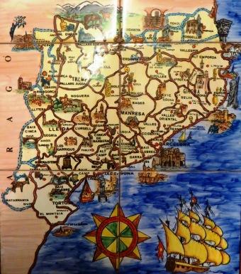 Catalonia Ceramic Tile Map