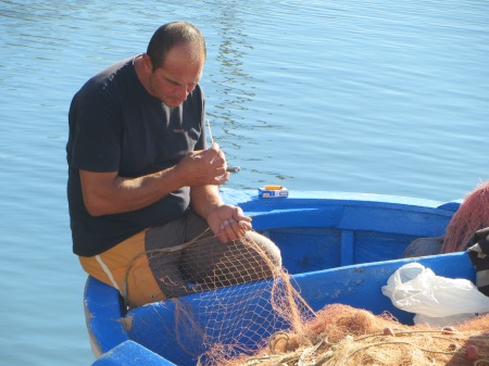 Bari Fisherman and Net Puglia Italy