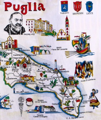 Tea Towel Map of Puglia