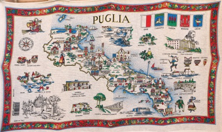 Puglia T Towel Map