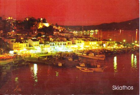 Skiathos Postcard Night Time 2000