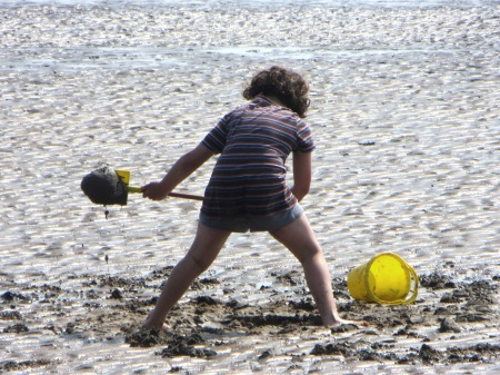 Cleethorpes Child Digging on Beach