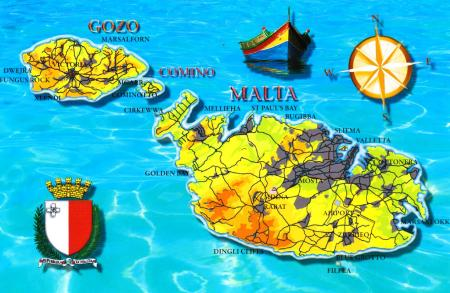 Malta Map Postcard