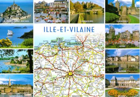 Brittany Map Postcard