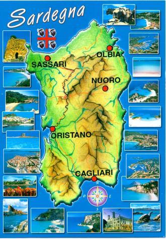 Sardinia Postcard Map