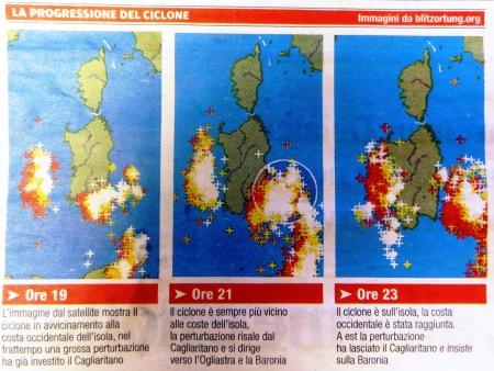 Sardinia Cyclone Map