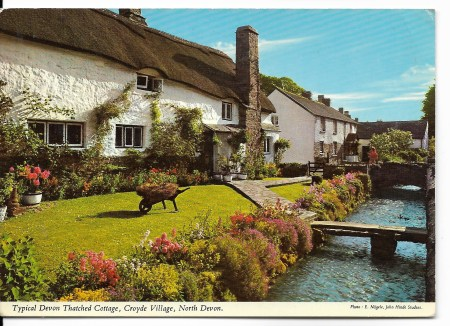 CroCroyde Village Devon Postcard
