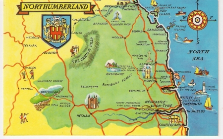 Northumberland Postcard Map