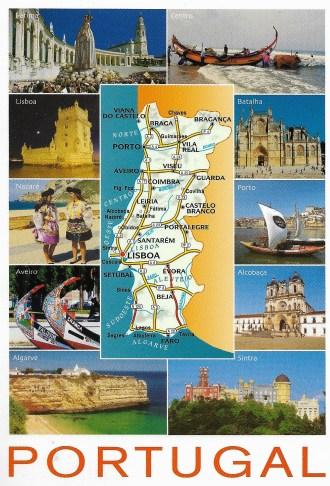 Portugal Postcard Map