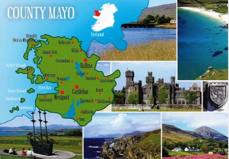 County Mayo ostcard Map