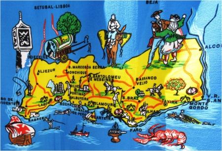 Algarve Map on Beach Towel