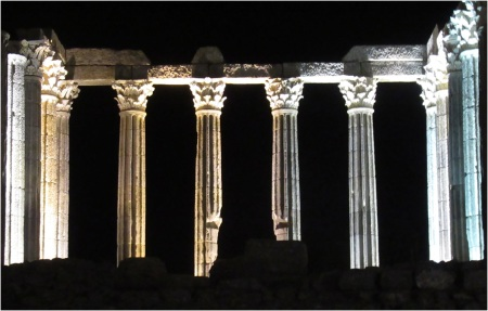 Evora Roman Temple at Night