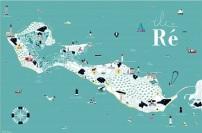 Postacrd Map Ile de Re