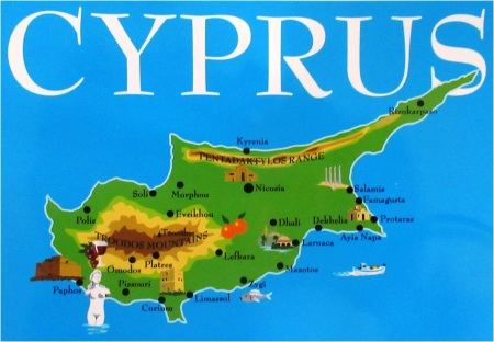 Cyprus Postcard Map